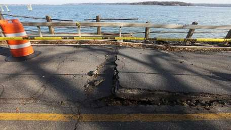 A section of Superstorm Sandy-damaged West Shore Road