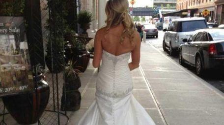 Bride Samantha Shea wears the white beaded wedding