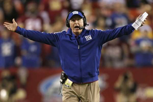 New York Giants head coach Tom Coughlin reacts