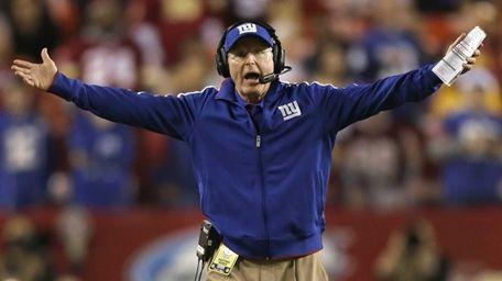 New York Giants head coach Tom Coughlin reacts