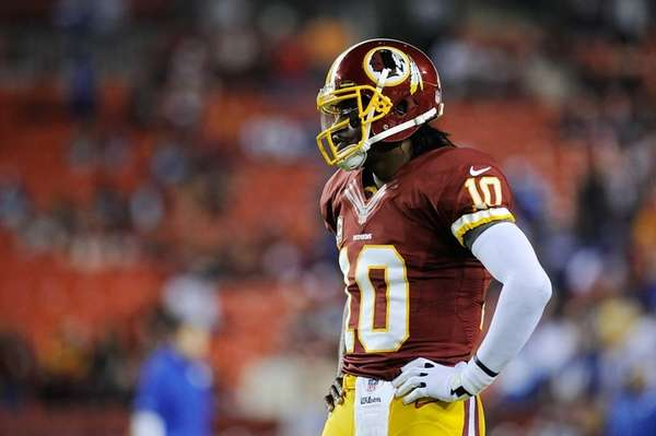 Robert Griffin III of the Washington Redskins reacts