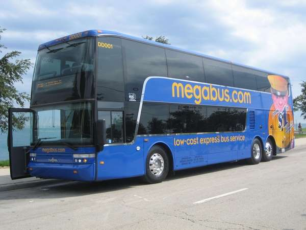 The front view of Megabus' double-decker bus. Megabus.com