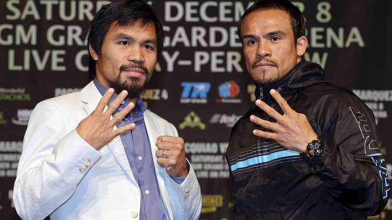 Manny Pacquiao, left, and Juan Manuel Marquez, right,