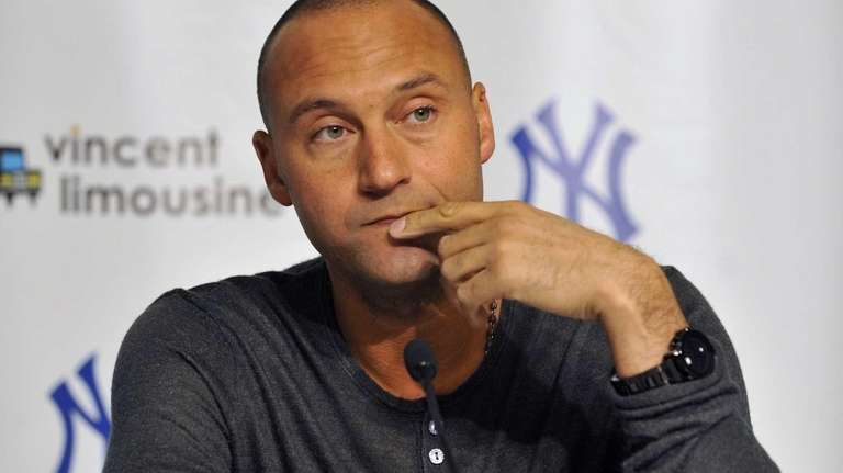 Derek Jeter takes questions from the media during