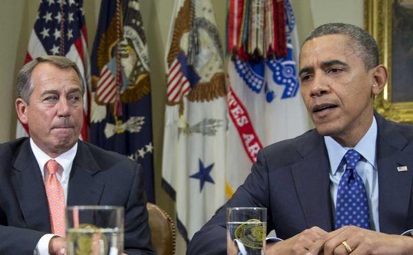 President Barack Obama, accompanied by House Speaker John