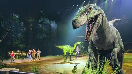 The T Rex makes a grand entrance during