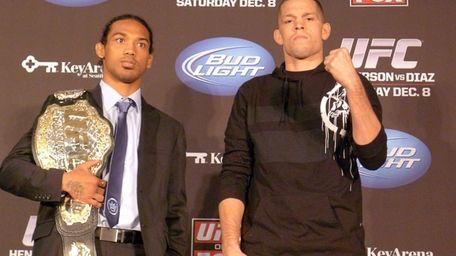 UFC lightweight champion Benson Henderson, left, and challenger