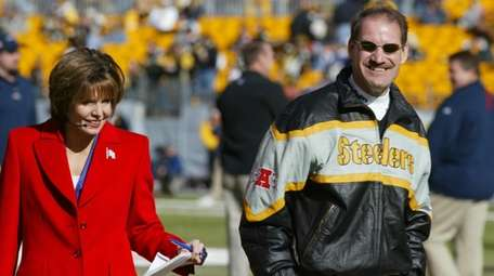 Steelers head coach Bill Cowher and Lesley Visser