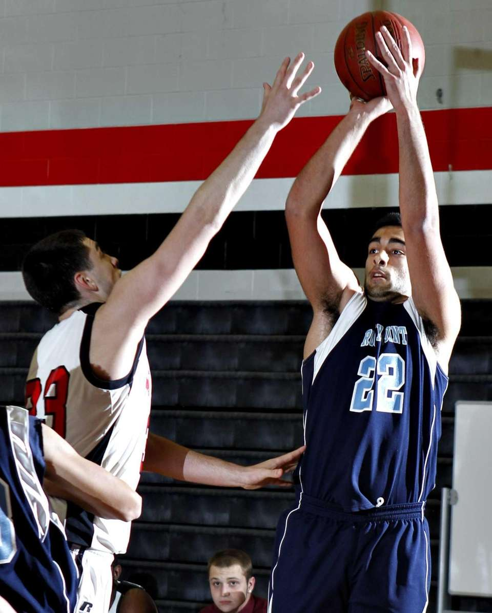 Rocky Point's Andreas Vouliakis (22) takes a 3-pointer