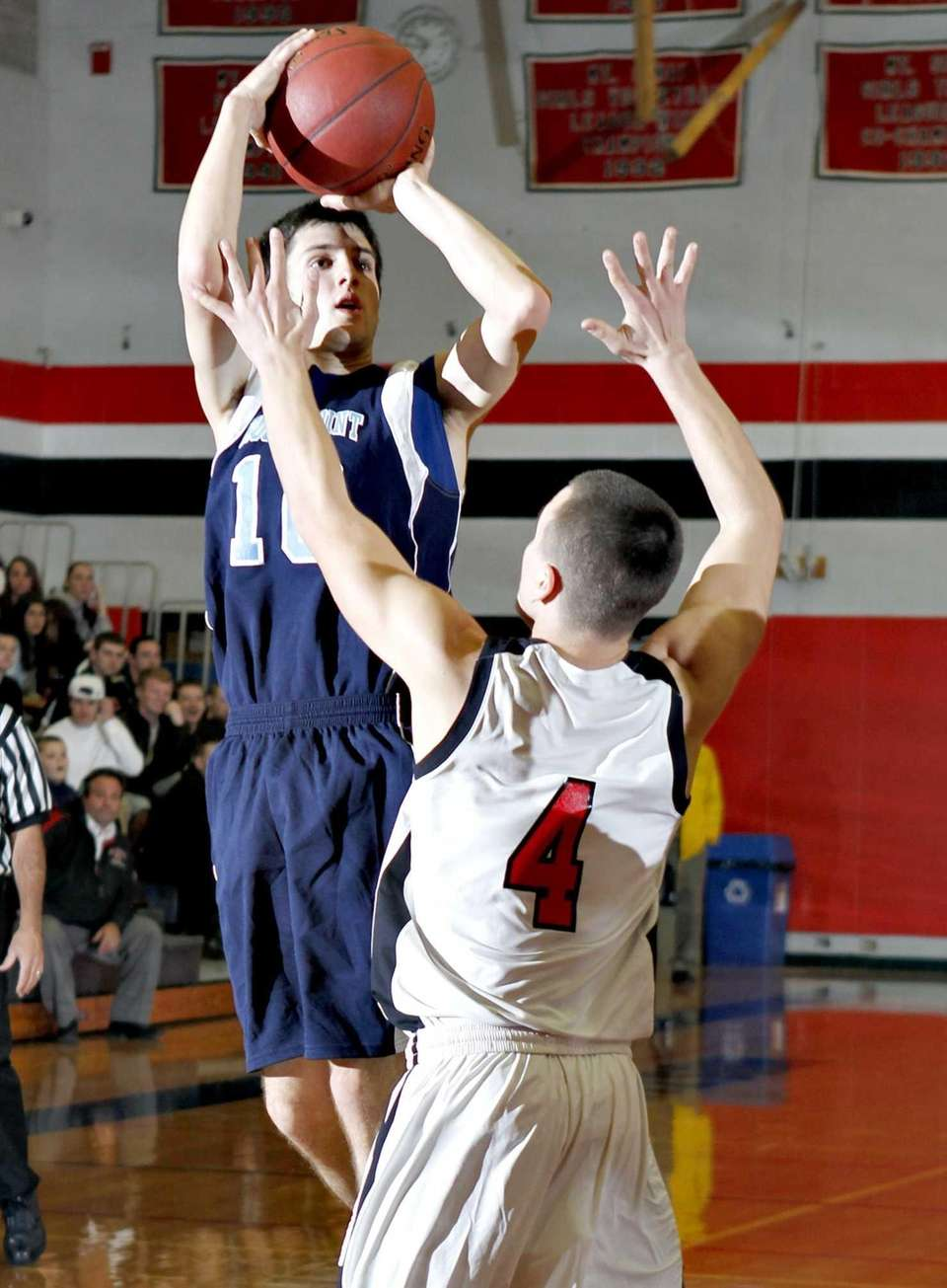 Rocky Point's Daniel Soranno (10) hits a jumper