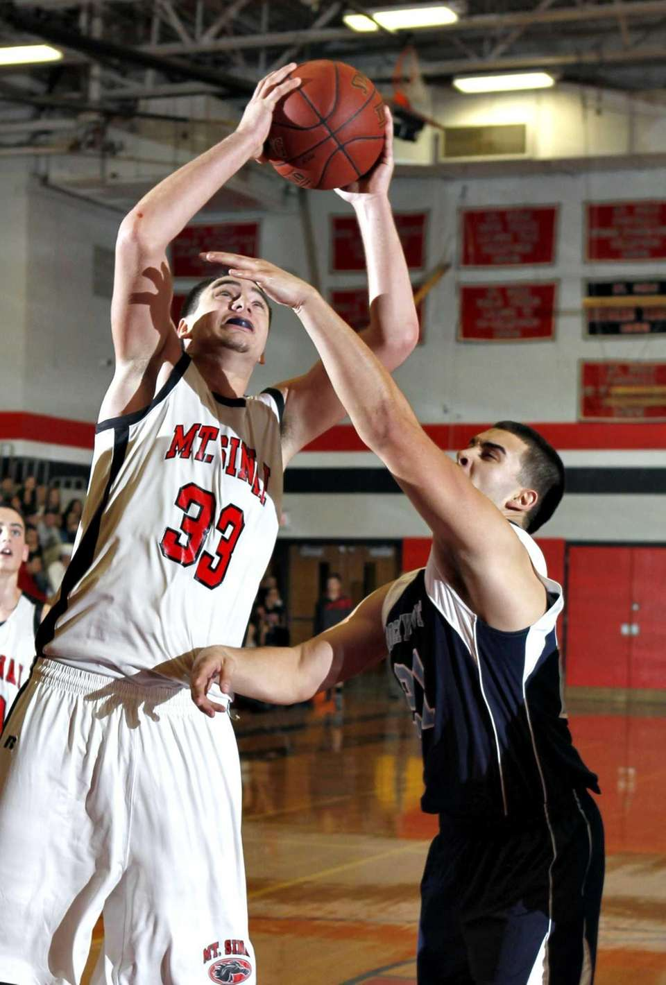 Mount Sinai's Michael Guzzardi (33) drives to the