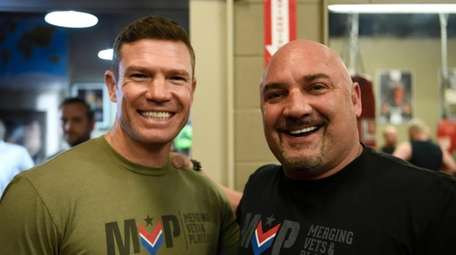 "Jay Glazer, right, and Nate Boyer of ""Merging"