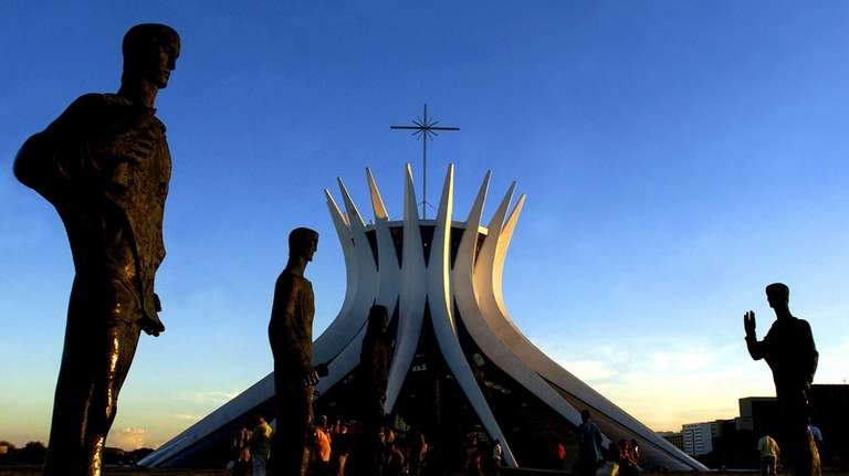 The statues of the apostles are seen in