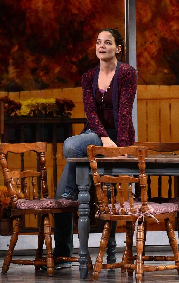 "Katie Holmes performs during the ""Dead Accounts"" Broadway"