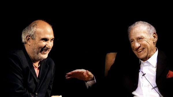 Alan Yentob and Mel Brooks in