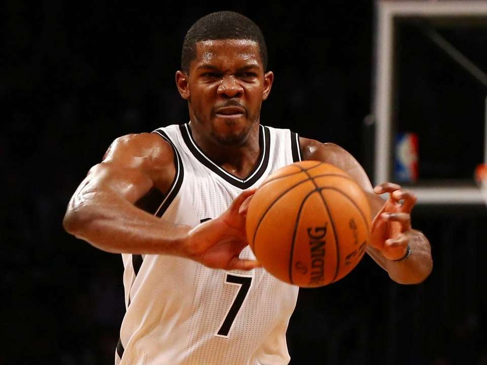Joe Johnson of the Brooklyn Nets passes the