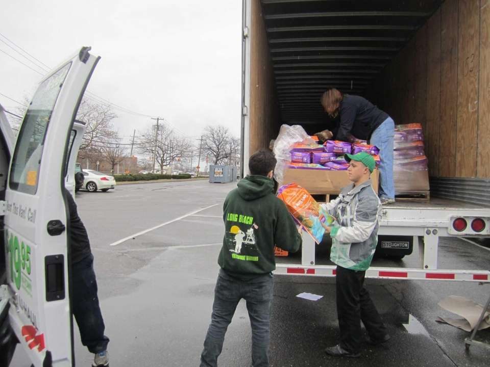 Employees from Pet Supplies Plus in Oceanside load