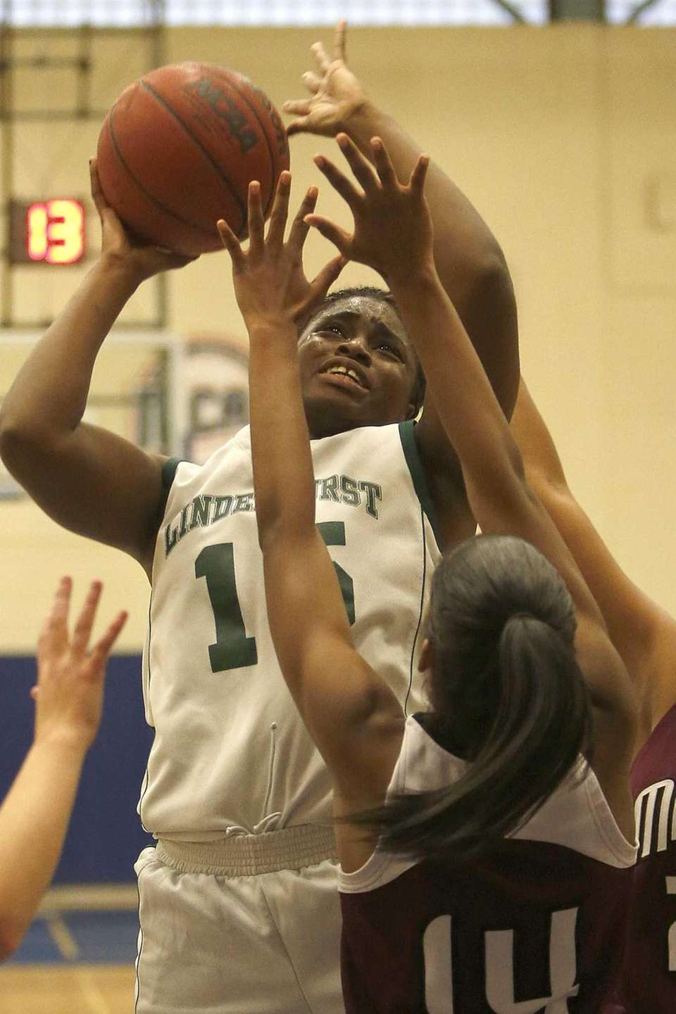 Lindenhurst's Valerie Oyakhilome takes a jumper over Southampton's