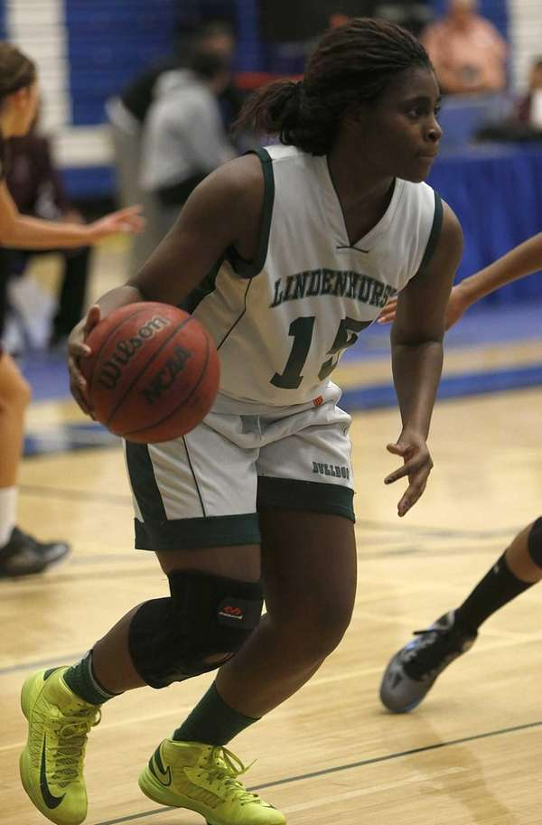 Lindenhurst's Valerie Oyakhilome controls the ball in the