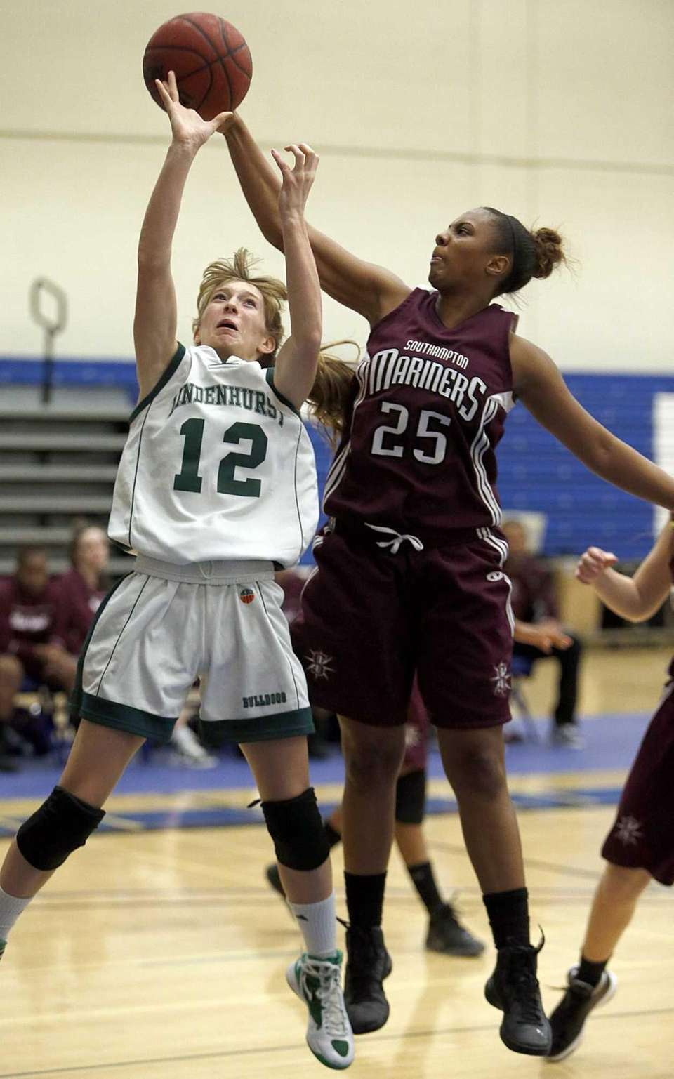 Southampton's Kesi Goree blocks a shot by Lindenhurst's