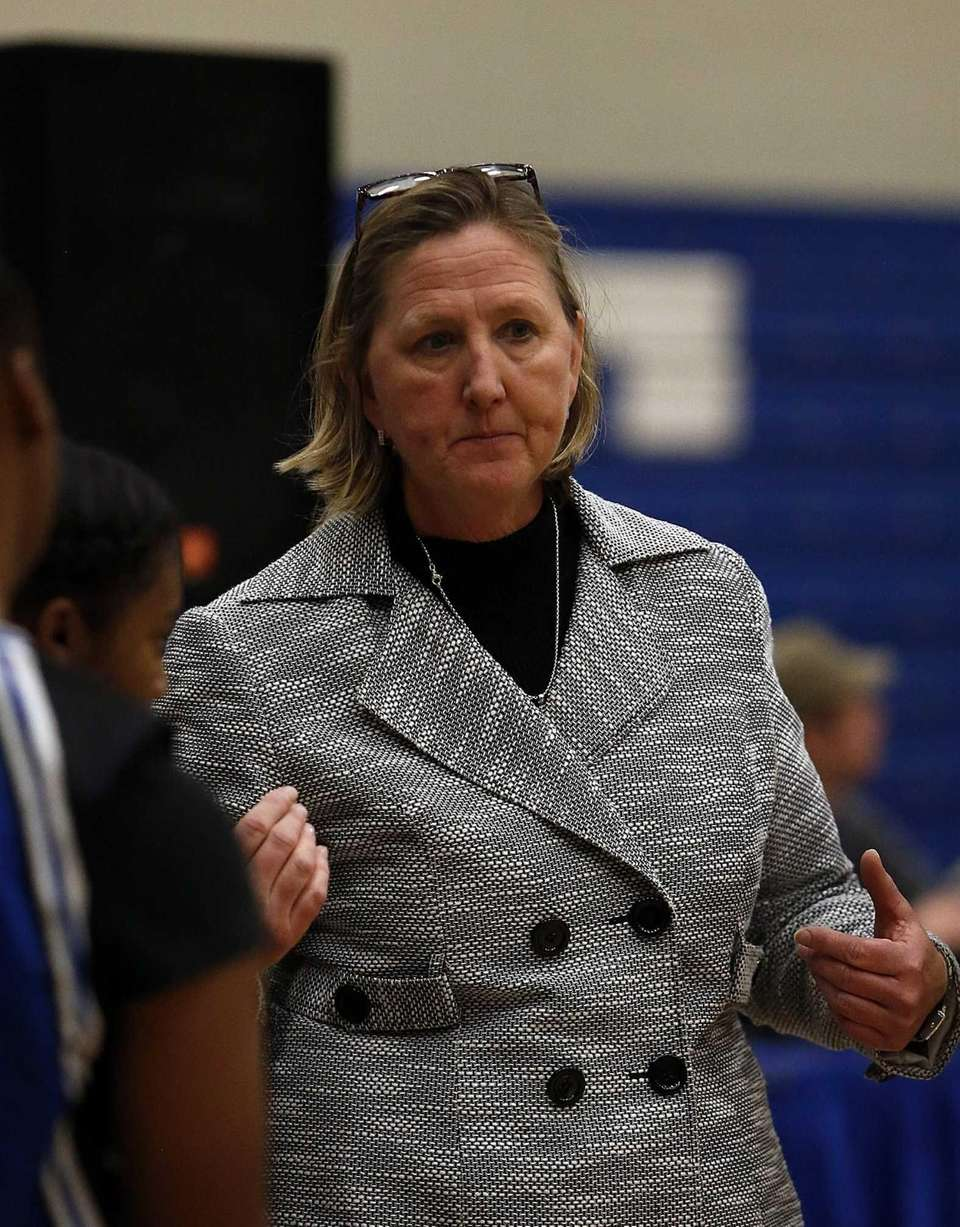 Copiague girls varsity basketball head coach DCarole Olsen