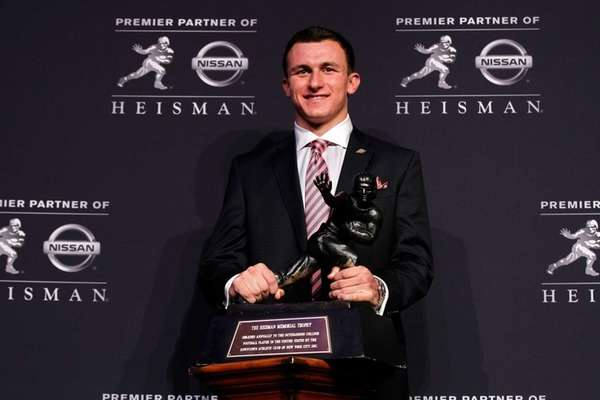 Heisman finalist Johnny Manziel of Texas A&M poses