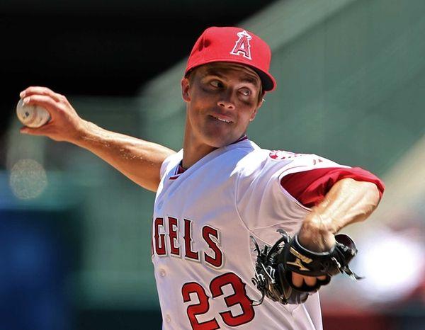 Los Angeles Angels starter Zack Greinke delivers a