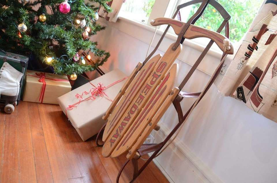 This wooden Speedway sled is part of the