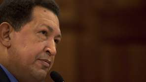 Venezuela's President Hugo Chavez during a press conference