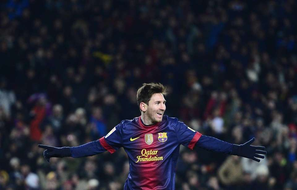 FC Barcelona's Lionel Messi, from Argentina, reacts after