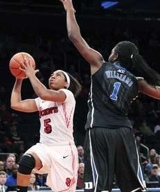St. Johns' Nadirah McKenith goes to the basket