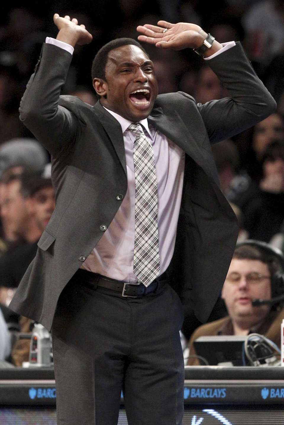 Brooklyn Nets head coach Avery Johnson yells during