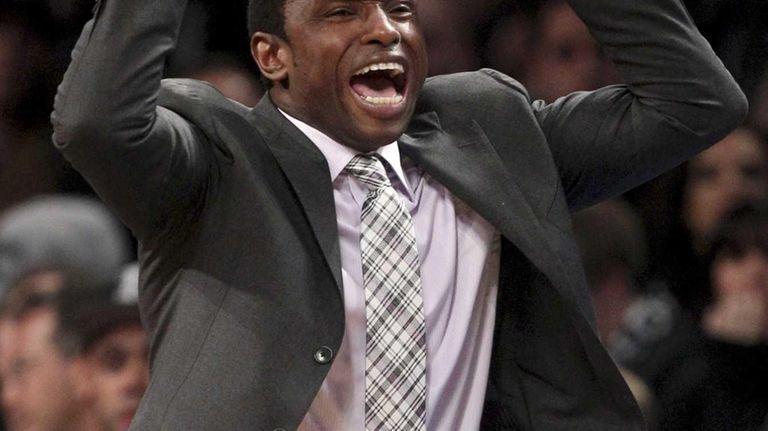 Brooklyn Nets head coach Avery Johnson yells during