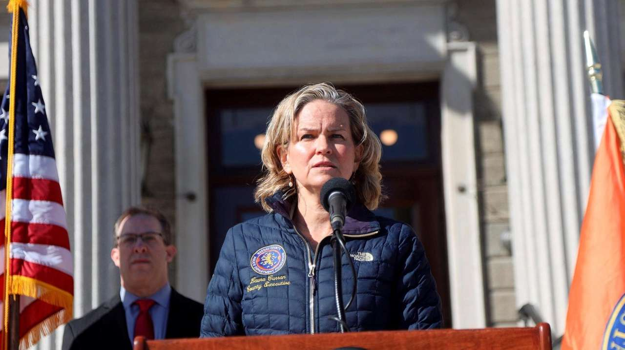 Nassau County Executive Laura Curran held a news