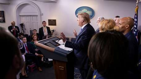 President Donald Trump speaks during a briefing about