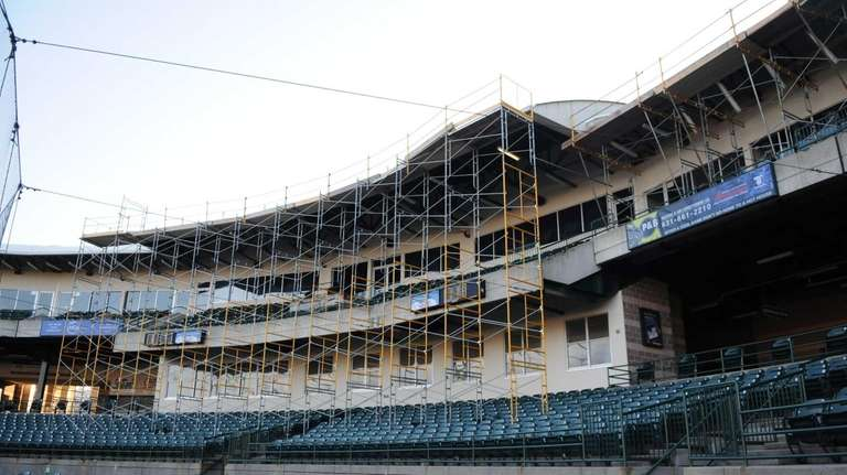 The roof of Bethpage Ballpark is being fixed