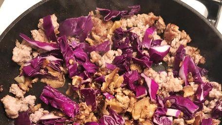 Blue Apron's curry pork noodles.