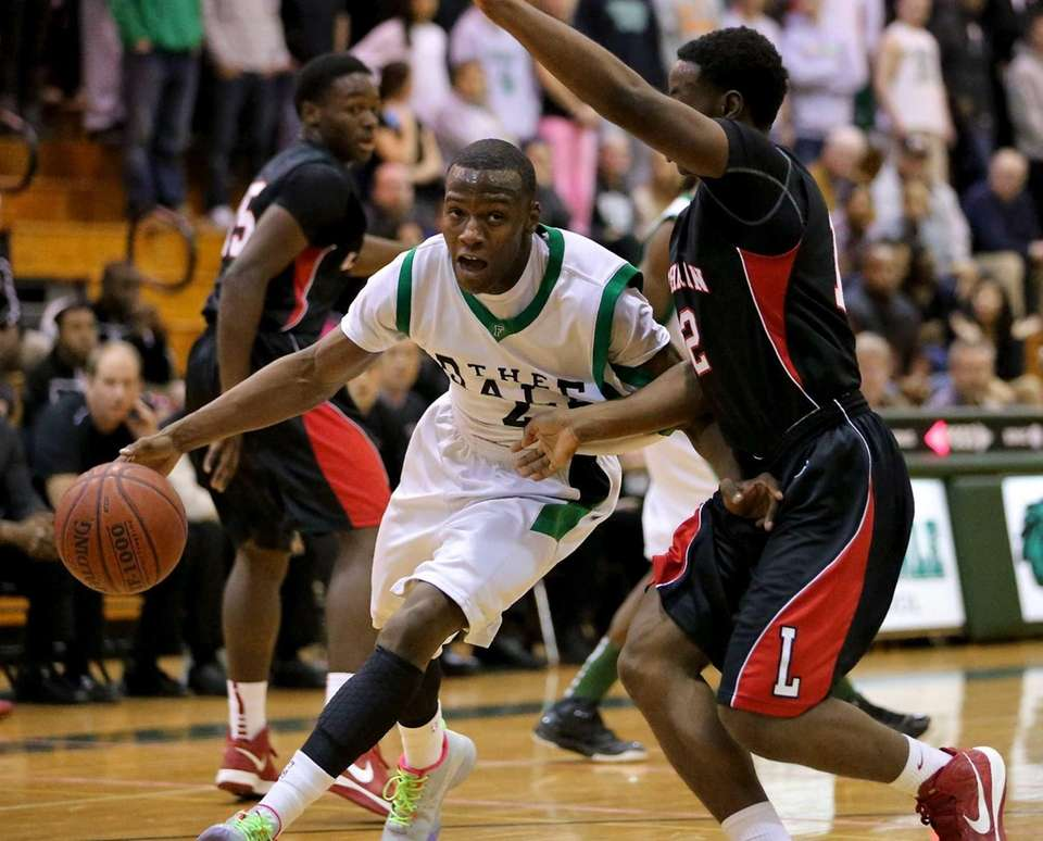 Farmingdale's Dalique Mingo drives the baseline against Lutheran's