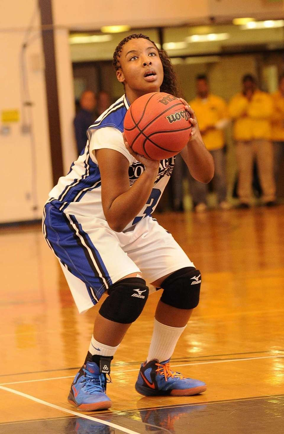 Copiague's I'Asia O'Garro sets up her foul shot