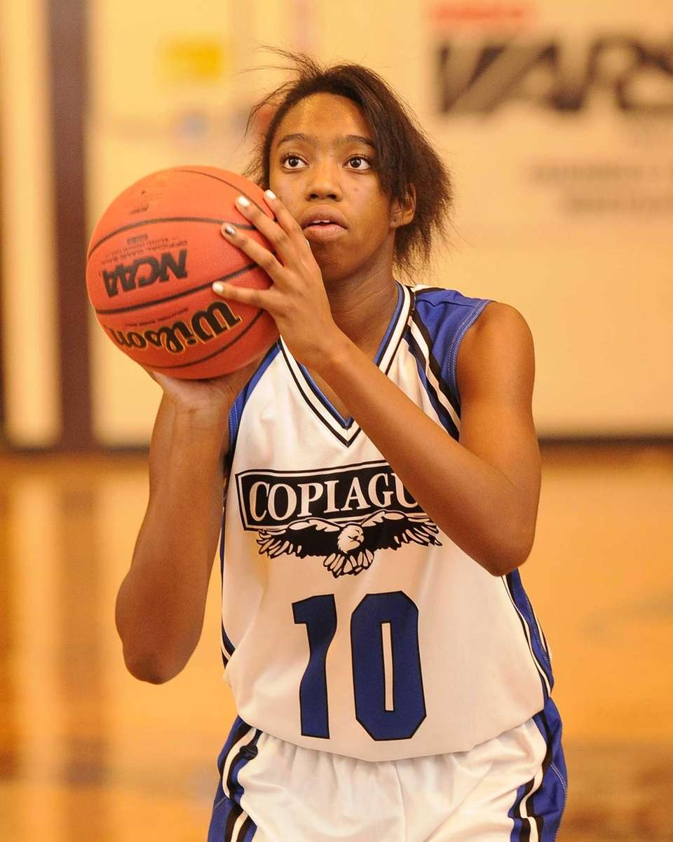 Copiague's Mikaiya Moore shoots a free throw against