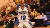 Copiague's Mikaiya Moore boxes out Longwood's Tah'Joenae Hinton