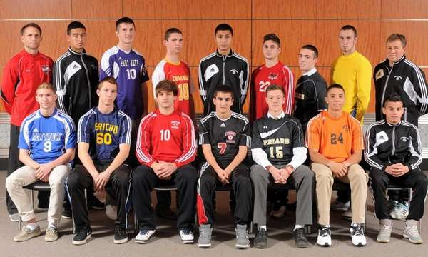 BOYS SOCCER FIRST TEAM FRONT ROW, FROM LEFT: