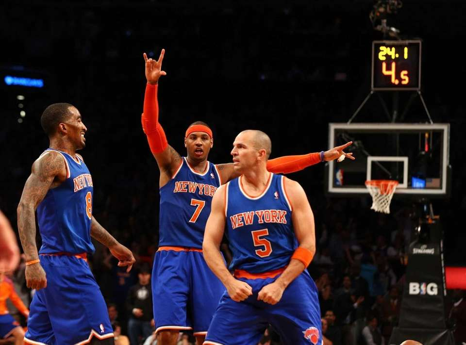Carmelo Anthony and J.R. Smith celebrate after Jason