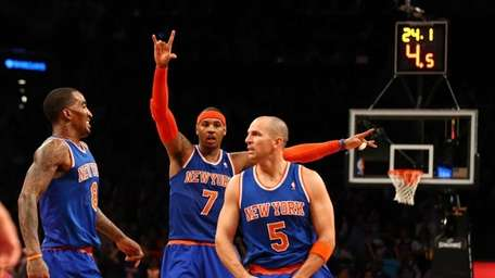 Carmelo Anthony and J.R. Smith celebrate after Jason