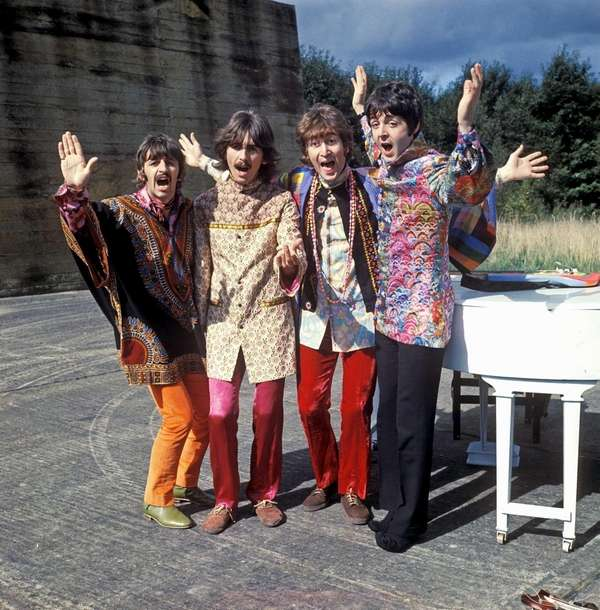 "The Beatles in ""Magical Mystery Tour."""