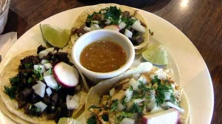 These are the tacos - chicken, steak and