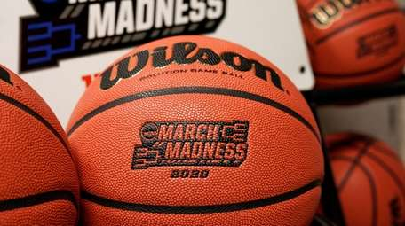 Official March Madness 2020 tournament basketballs are seen