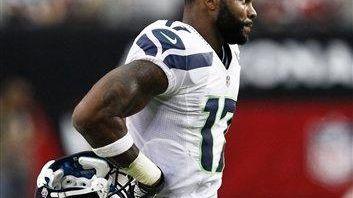 Seattle Seahawks wide receiver Braylon Edwards walks around