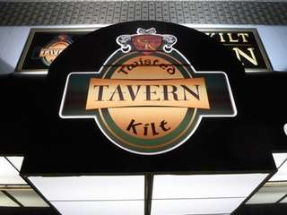 The awning of the Twisted Kilt Tavern in