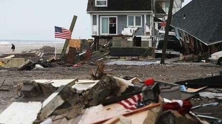 The remains of a home destroyed in the